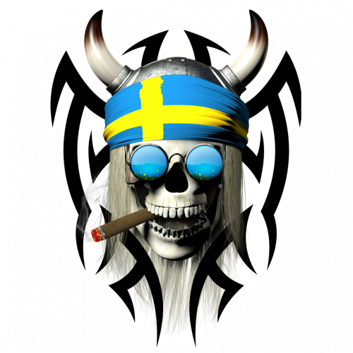 Smoking swedish tribal skull