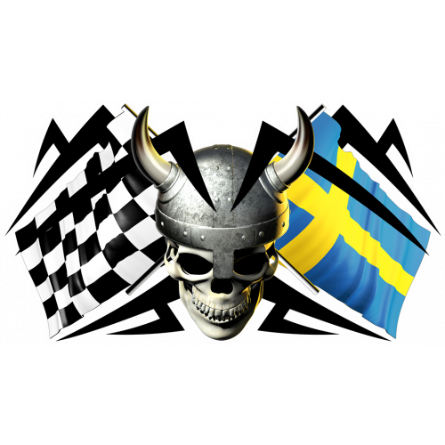 Racing skull swedish flag