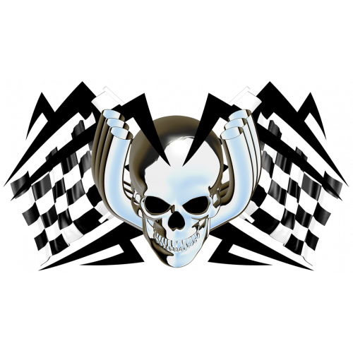Racing flags chromed skull