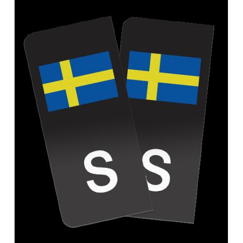 S-märke med Sverigeflagga