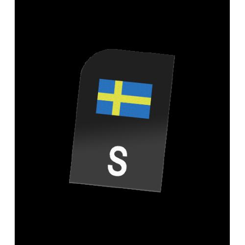 MC S-märke med Sverigeflagga